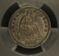 1853 NO ARROWS SEATED LIBERTY HALF DIME PCGS AU58, TOUGH COIN, GREAT TYPE