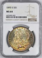 1890-S MORGAN SILVER DOLLAR BETTER DATE  COLORFUL  $1 - NGC MINT STATE 64 -