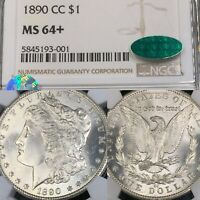 1890-CC MINT STATE 64 NGC CAC SIGHT-WHITE MORGAN SILVER DOLLARS $1 PQ UNDERGRADED