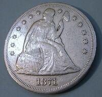 1871 SEATED LIBERTY SILVER DOLLAR ONE $