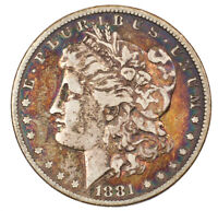 1881-P MORGAN SILVER DOLLAR COLORFUL OBVERSE TONED $1 CIRCULATED