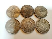 GREAT BRITAIN  UK  6 DIFFERENT SILVER FLORINS WITHIN DATE RA
