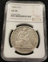 1860-O NGC AU58 SEATED LIBERTY SILVER DOLLAR SUPER SHARP AND GREAT SURFACES