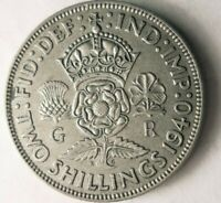 1940 GREAT BRITAIN FLORIN    AU   HIGH QUALITY VINTAGE SILVE
