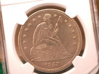 1848 SEATED LIBERTY DOLLAR  NGC AU DETAILS.  CLEANED.