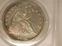 1867 SEATED LIBERTY DOLLAR  PCGS XF DETAILS.  CLEANED.