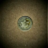 1851 THREE CENT SILVER 'TRIME' COIN AT V.G. CONDITION