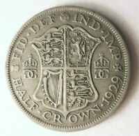 1929 GREAT BRITAIN 1/2 CROWN   HIGH QUALITY VINTAGE SILVER C