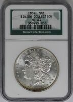 1887-P NGC SILVER MORGAN DOLLAR MINT STATE 63 BINION HOARD COLLECTION MINT STATE COIN