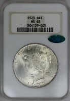 1923-P NGC FATTY SILVER PEACE DOLLAR MINT STATE 65 CAC LY STRUCK  LOTS OF LUSTER
