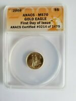 2009 $5 GOLD EAGLE MS 70 ANACS GRADED COIN FIRST RELEASE  214 OF 1475
