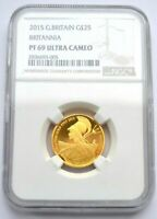 2015 GREAT BRITAIN BRITANNIA NAUTICAL 1/4 OZ GOLD PROOF 25 POUNDS NGC PF69 UC