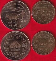 NEPAL SET OF 2 COINS: 1   2 RUPEES 2009 UNC