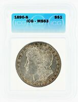1890-S SILVER MORGAN DOLLAR ICG MINT STATE 63 S$1 CREDIT CARD ONLY