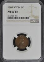 1909-S VDB WHEAT REVERSE LINCOLN CENT 1C NGC MINT STATE 64BN