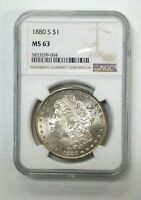 1880-S MORGAN SILVER DOLLAR NGC CERTIFIED  MINT STATE 63 VAM 11  0/9  HOT 50