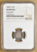 1863 S SEATED LIBERTY DIME NGC EXTRA FINE  DETAILS