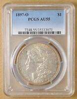 1897 O MORGAN SILVER DOLLAR PCGS AU55 WITH  TONING