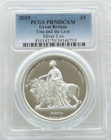 2019 GREAT ENGRAVERS UNA AND THE LION 5 SILVER PROOF 2OZ COIN PCGS PR70 DCAM