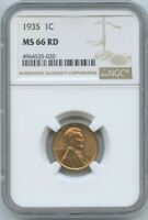 1935 P LINCOLN WHEAT CENT, NGC MINT STATE 66RD MM 5020
