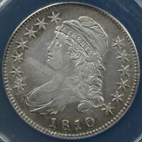 1810 50C CAPPED BUST HALF DOLLAR ANACS EF 45 DETAILS CLEANED