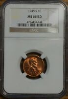 1945-S LINCOLN WHEAT CENT - GRADED BY NGC MINT STATE 66 RED-4294469-144