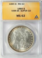1885 P MORGAN DOLLAR VAM-4A SUPERCD ANACS MINT STATE 63 TONED