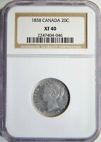 1858 CANADA SILVER 20 CENTS NGC XF 40 20C
