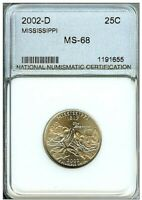 2002 D MISSISSIPPI 25C NEARLY PERFECT GEM UNC