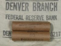 ONE  FRB DENVER LINCOLN WHEAT CENT PENNY ROLL 50 PENNIES 1909 1958 P D S