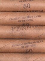 FIVE  FRB DENVER LINCOLN WHEAT CENT PENNY ROLLS 250 PENNIES 1909 1958 PDS