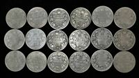 LOT OF 18 CANADA 25 CENT $4.50 FACE 92.5  SILVER 1902 1910 C