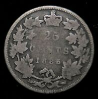 1885 CANADA 25 CENT SILVER BETTER DATE CURVED TOP 5 CANADIAN
