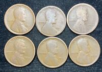 1917 & 1918 P D S 6 COINS LINCOLN WHEAT PENNIES- SHIPS FREE 2
