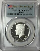2020 S PCGS PR70 .999 SILVER PROOF KENNEDY HALF FIRST DAY IS