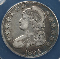 1834 50C CAPPED BUST HALF DOLLAR ANACS VF 20 DETAILS CLEANED