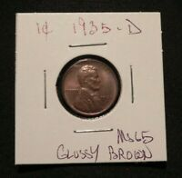 STUNNING 1935 D LINCOLN HEAD PENNY CENT MS UNC  GLOSSY BROWN BUY NOW OFFER