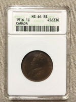 1916 CANADA LARGE 1 CENT 1C ANACS GRADED MINT STATE 64 RB