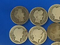 LOT OF 17 BARBER SILVER DIME CULL COINS // 1897-1915 //