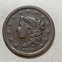 1839 HEAD OF 1838 LARGE CENT   FINE   N-2  KEY TYPE COIN