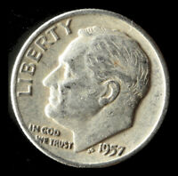 1957-P ROOSEVELT 90 SILVER DIME SHIPS FREE. BUY 5 FOR $2 OFF
