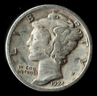 1924-P MERCURY 90 SILVER DIME SHIPS FREE. BUY 5 FOR $2 OFF
