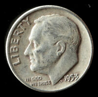 1953-P ROOSEVELT 90 SILVER DIME SHIPS FREE. BUY 5 FOR $2 OFF