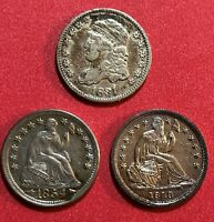 LOT OF 3 SILVER HALF DIMES CAPPED BUST 1831 LIBERTY SEATED 1