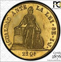 1847 SO IJ CHILE 8 ESCUDOS GOLD PCGS AU58 WELL STRUCK  TOP AND ONLY POP