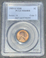 1909-S VDB $0.01 LINCOLN CENT PCGS MINT STATE 64 RED BROWN, KEY TO SET SUPER HIGH GRADE