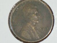 1917 D WHEAT EARS CENT AU CONDITION SLIGHT ROTATED REVERSE DIE