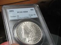 BEAUTIFUL CLEAN & ALL WHITE MORGAN  1892 P  PCGS  MS 64 REAL
