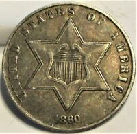 1860 THREE CENT SILVER 3C   XF    US COIN.