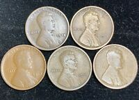 1915-1919 P LINCOLN WHEAT PENNIES 5 COINS- SHIPS FREE 2